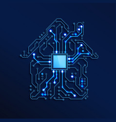 Smart home or iot concept blue circuit house with vector
