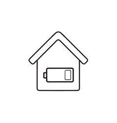 Smart house energy consumption hand drawn outline vector