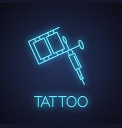 Tattoo machine neon light icon vector