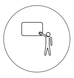 teacher standing near blackboard icon black color vector image