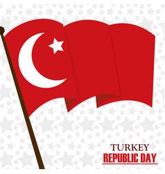 Turkey republic day stars background waving flag vector