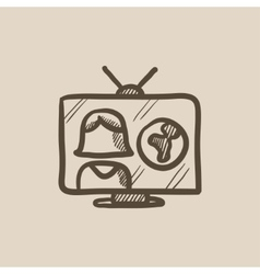 TV report sketch icon vector