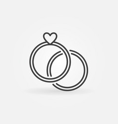 two engagement rings line icon wedding vector image