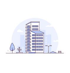 urban landscape - modern thin line design style vector image