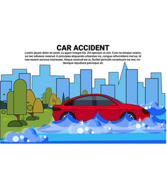 vehicle trying to drive against flood water in vector image