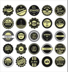 vintage labels black and beige set vector image