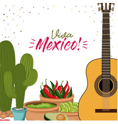 Viva mexico colorful poster with guitar and cactus vector