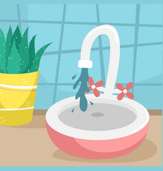 Water runs from tap to bathroom sink flat vector