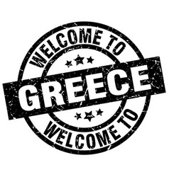 welcome to greece black stamp vector image vector image