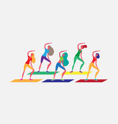 woman group doing aerobic exercises cartoon vector image