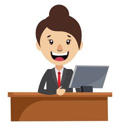 woman working at desk on white background vector image