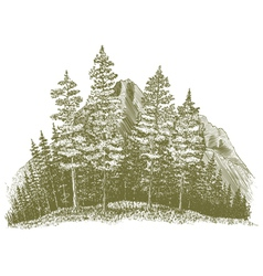 Woodcut Mountain Drawing vector