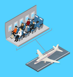 aircraft interior and plane isometric view vector image