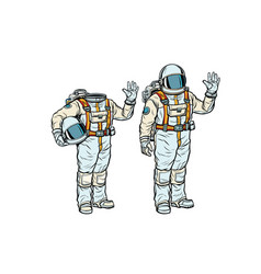 astronaut in spacesuit and mockup without a head vector image vector image