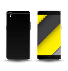 Front and back smartphone mockup vector