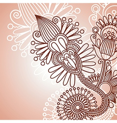 henna doodle floral pattern vector image vector image