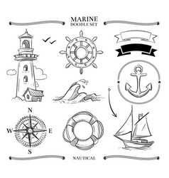 rope frames boats marine knots anchors nautical vector image