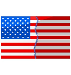 USA divided and stitched vector image