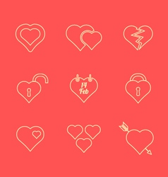 various red color outline heart icons set vector image vector image