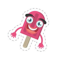 cartoon stick ice cream party cut line vector image