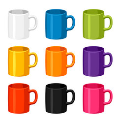 colored mugs templates set of promotional gifts vector image