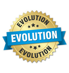 evolution round isolated gold badge vector image vector image