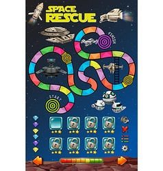 Game template with rockets in the space vector image