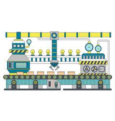 industrial conveyor belt line flat vector image vector image