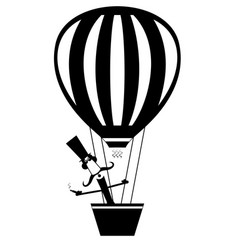 mustache man with cigar flies on the air balloon vector image vector image