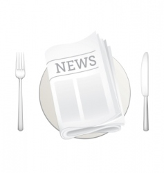 newspaper and cutlery icon vector image vector image