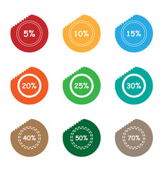 percent sale tear sticker label set vector image vector image