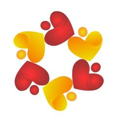 Teamwork sharing hearts logo vector image
