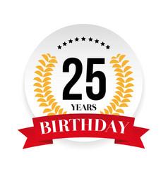 twentyfifth birthday badge label vector image