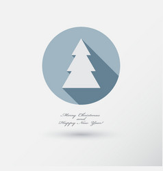 christmas tree icon with long shadow vector image