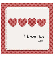 i love you card with hearts vector image vector image