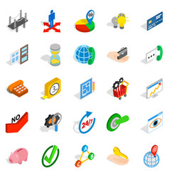 manufacturing icons set isometric style vector image