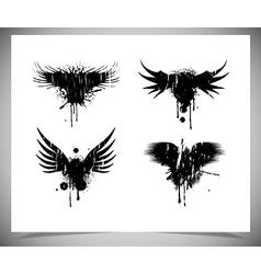 Set of black grunge wings vector image