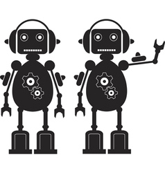 Two Black Friendly Robots with Gears Headphones vector image vector image