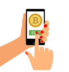 woman holding smartphone with bitcoin vector image
