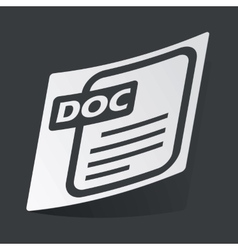 Monochrome DOC file sticker vector image vector image