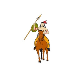 Native American Indian Brave Riding Pony Cartoon vector image vector image