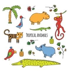 Tropical animals sketch vector image vector image