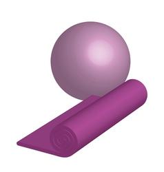 yoga mat ang ball vector image vector image