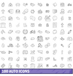 100 auto icons set outline style vector image