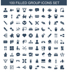 100 group icons vector