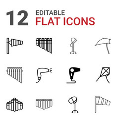 12 blowing icons vector image