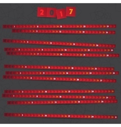 2017 Year Calendar with red strips on dark vector image
