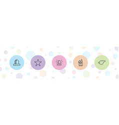 5 police icons vector