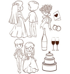 A plain sketch of a wedding ceremony vector image