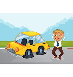 A sweaty man beside his car with flat tires vector